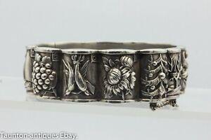 Portugese panel months calendar bracelet 800 silver pictorial Deco signed David