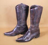 2S Damen Western-Stiefel Cowboy Boots Leder braun Krokolook Gr. 39