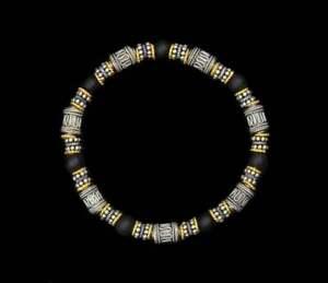 Black Onyx and Sterling Silver Bracelet, Bracelet for Men