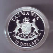 1991 Silver $10 Proof Coin for Tasmania part  State Series Collection in capsule