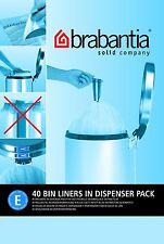 Brabantia 40 Bag Dispenser Pack Type E Size 20L 20 Litre Bin Liners Plastic