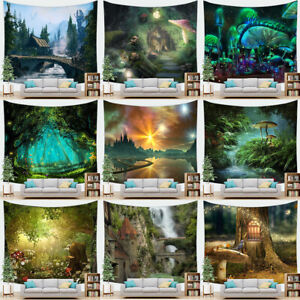 Fantasy Forest Tree Mushroom Tapestry Nature Landscape Magic Castle Wall Hanging