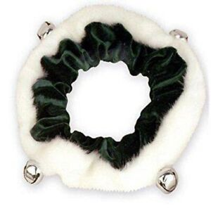 Plush Puppies Outward Hound Holiday Dog Cat Pet Velvet Bell Collar Green White S