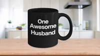 One Awesome Husband Mug Black Coffee Cup Funny Gift for Dad Partner Lover