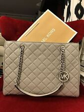 NWT MICHAEL KORS QUILTED LEATHER SUSANNAH LARGE TOTE BAG IN PEARL GREY