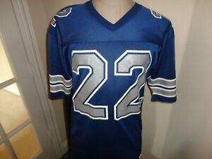 Vtg 90's Champion Dallas Cowboys #22 Emmitt Smith Blue Screen NFL Jersey Size 40