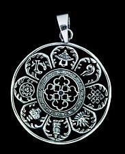 Pendentif tibetain Astamangala en Argent massif 925 11g  Bijoux Tibet -5226 -M1