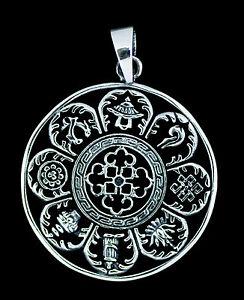 Anhänger Tibet- Astamangala Sterling Silber 925 10g Schmuck Tibet -5226 -M1