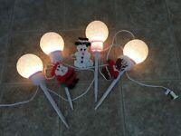 Lot 3 Vtg Melted Plastic Popcorn Christmas Decorations + 4 Snowball Light Set