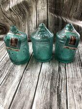 The Pioneer Woman Set 3 Adeline Glass Jar Lid Teal Green Storage Organize New