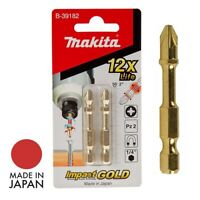 "Makita Screwdriver Bits PZ2 Pozi 2xPcs Impact Gold Xtreme Torsion 50mm 1/4"" 6.35"
