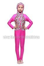 Kids Girls zipper Printing Swimwear Muslim Islamic Full Cover Bikini Swimsuit