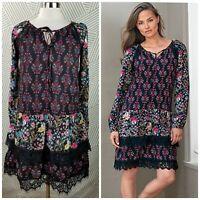New Sahalie Size Small Floral Long Sleeve Peasant Dress Lace Boho Layered