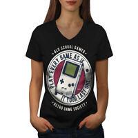 Wellcoda Gamer Society Womens V-Neck T-shirt, Games Graphic Design Tee