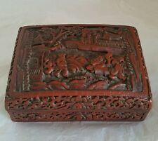 Une Antique Chinese Export Hand Carved Cinnabar Box & Cover. Circa C19th