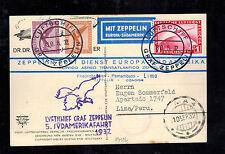 1932 Germany Graf Zeppelin RPPC Dr Eckener Postcard Cover to Lima Peru