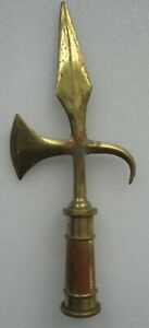VINTAGE FLAG POLE HALBERD TOPPER SOLID BRASS FINIAL POLEAXE DECOR ARMY