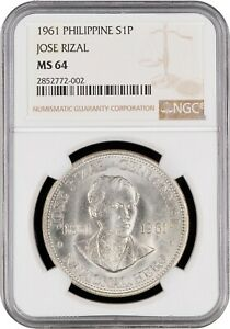 1961 Philippines 1 Peso Silver Coin Rizal NGC MS-64 Superb Choice BU Pop 8/2