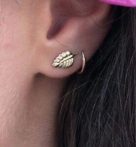 14k GF Leaf Stud Post Earrings (USA Made)