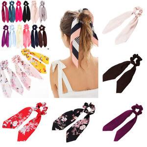 Floral Scrunchie Scarf Hair Bow Ponytail Elastic Boho Hairband Rope Ribbon Ties#