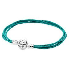 AUTHENTIC PANDORA Multi-strand TEAL Fabric Bracelet Large (590715CTU-M3) 7.9 in