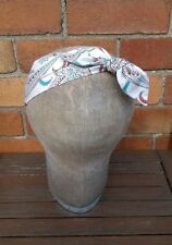 Headband Head Scarf Hair Wrap Bow Rockabilly Vintage Retro Beige Floral Paisley