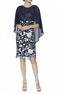 Gina Bacconi Navy Floral Embroidered Cape Dress, UK 12, BNWT, RRP £290