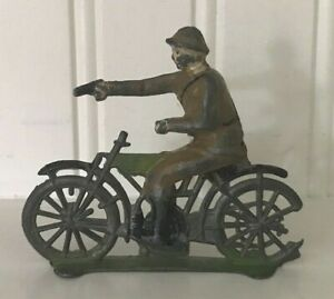 VINTAGE TOY MOTORCYCLE, RIDER-FRENCH 1920'S-MILITARY-LEAD-MULTI COLOR-SCARCE