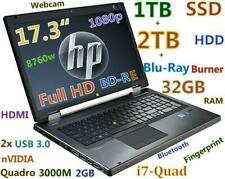 """3D-Design 17.3"""" FHD HP 8760w i7-QUAD (1TB SSD + 2TB) Blu-Ray Burner 32GB nVIDIA"""