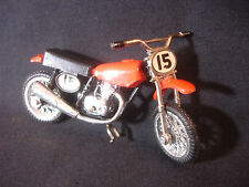 Old Vtg Diecast Toy Motorcycle Motor Bike #15 Orange Black With Kick Stand