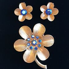 Vintage Goldtone Blue Aurora Borealis Rhinestone Flower Pin Clip Earrings Brooch