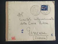 1944 Trieste Italy Censored Cover to Red Cross Geneva Switzerland