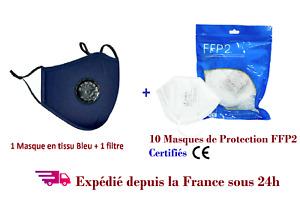 10 Masques de protection FFPII + 1 masque bleu tissu coton  valve+1filtre PM2.5