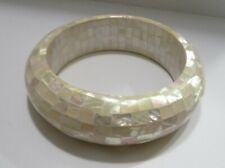 """Ross Simon Iridescent Mother of Pearl  Mosaic 1.25"""" wide Bangle Bracelet"""