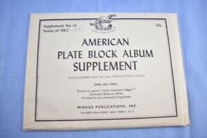Vintage 1962-67 American Plate Block Album supplement #14 Minkus Publications