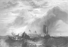 SAILBOATS SHIP WRECK in STORMY SEAS WAVES ~ 1864 SEASCAPE Art Print Engraving