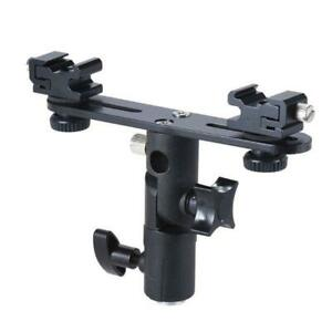 Double Hot Shoe Flash Umbrella Holder Light Stand Mount for Photography Camera