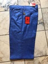 NWT INSERCH  PLEATED LINEN Blend Denim Blue PANTS MENS SIZE 38