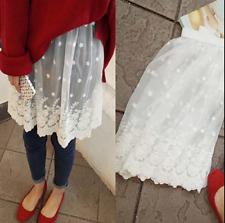 Lady Lace Slip Dress Skirt Extender Half Slip Extend Skirts Black/White