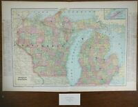 "Vintage 1900 WISCONSIN MICHIGAN Map 22""x14"" ~ Old Antique Original Marinette Wi"