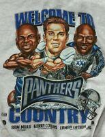 VTG Carolina Panthers Crewneck 90's NFL Reprint Gildan Tshirt Women mens DD2013