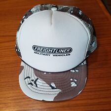 Vintage Freightliner Military Vehicles Camo Trucker Hat SnapBack Cap Rare