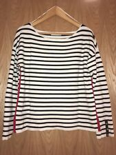 Zara Knitwear White Black Red Striped Jumper with Gold Button detail Size M