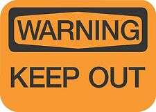 """WARNING KEEP OUT  (5 Pack) 3.5"""" x 5"""" Label Sticker Safety Sign Decal Warning"""
