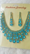 Turquoise Blue color  Diamante  crystal Necklace&earrings set Gold color chain
