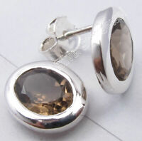 925 Sterling Silver Natural Oval Cut Smoky Quartz Stud Post Earrings Brand New