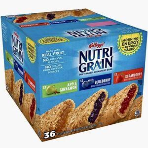 Kellogg's Nutri-Grain Cereal Breakfast Bars Variety Pack (1.3 oz. bar, 36 ct.)