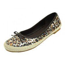 Women's Leopard Sequin Ballet Flats Shoes w/ Rubber Sole Sizes 5-10 New