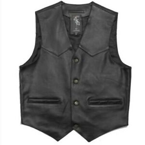 Vest Custom Motorcycle Chopper Lined Skin Classic Buttons Pocket Interior