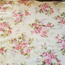 Hobby Lobby Stores Fabric 2 pieces Remnants Beige w/ Pink Floral Print Cotton